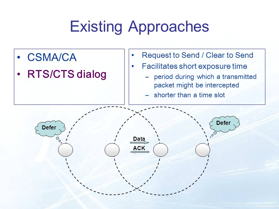 ACK Data Existing Approaches CSMA/CA RTS/CTS dialog Request to Send / Clear to Send Facilitates short exposure time –period during which a transmitted