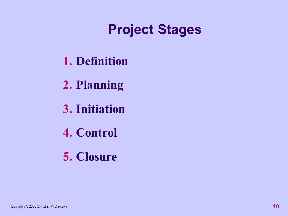 10 Copyright © 2005 Christian W Dawson Project Stages 1.Definition 2.Planning 3.Initiation 4.Control 5.Closure