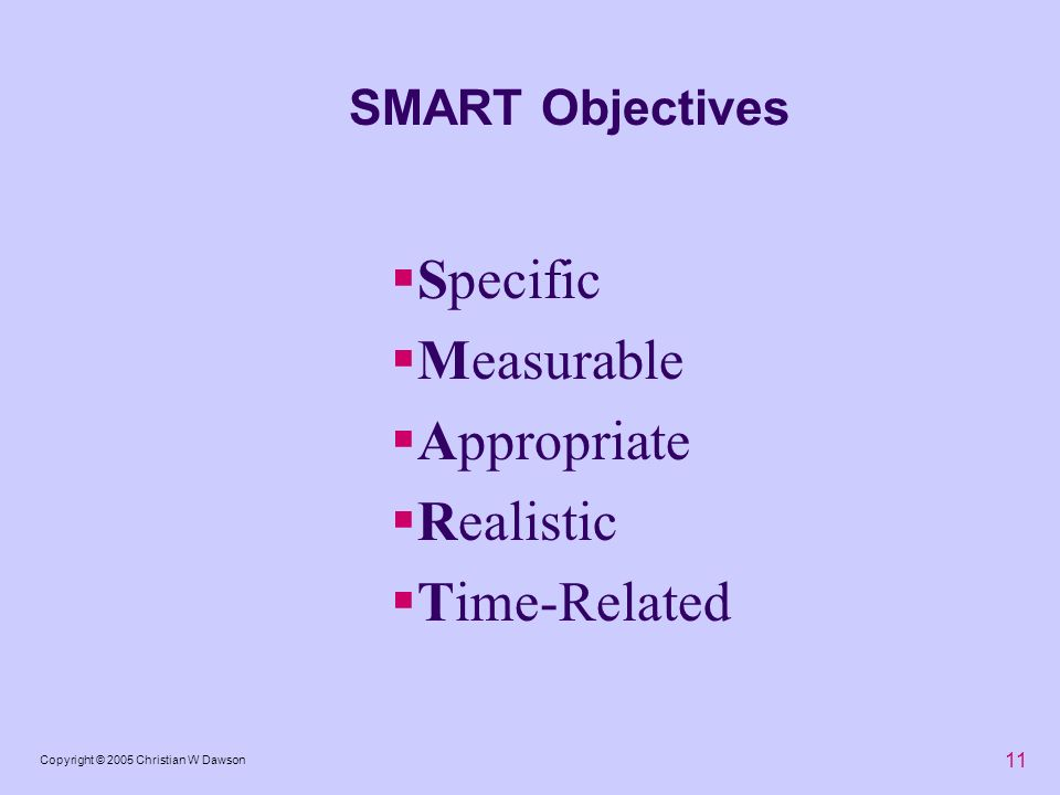 11 Copyright © 2005 Christian W Dawson SMART Objectives Specific Measurable Appropriate Realistic Time-Related