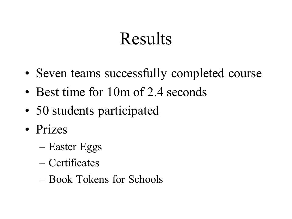 Results Seven teams successfully completed course Best time for 10m of 2.4 seconds 50 students participated Prizes –Easter Eggs –Certificates –Book To