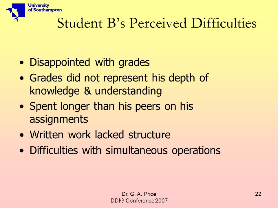 Dr. G. A. Price DDIG Conference 2007 22 Student Bs Perceived Difficulties Disappointed with grades Grades did not represent his depth of knowledge & u