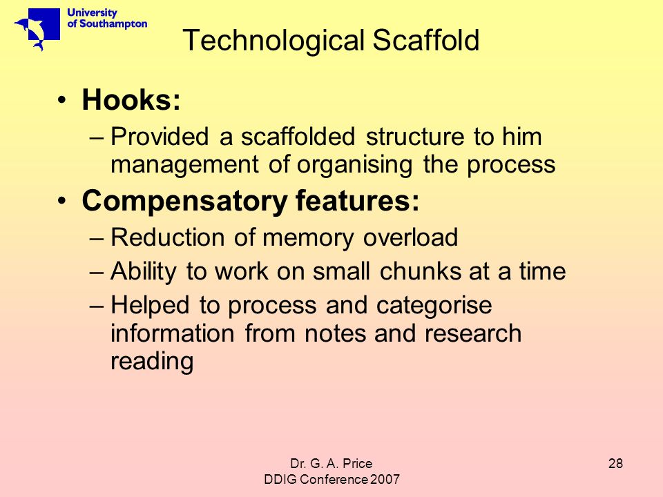 Dr. G. A. Price DDIG Conference 2007 28 Technological Scaffold Hooks: –Provided a scaffolded structure to him management of organising the process Com