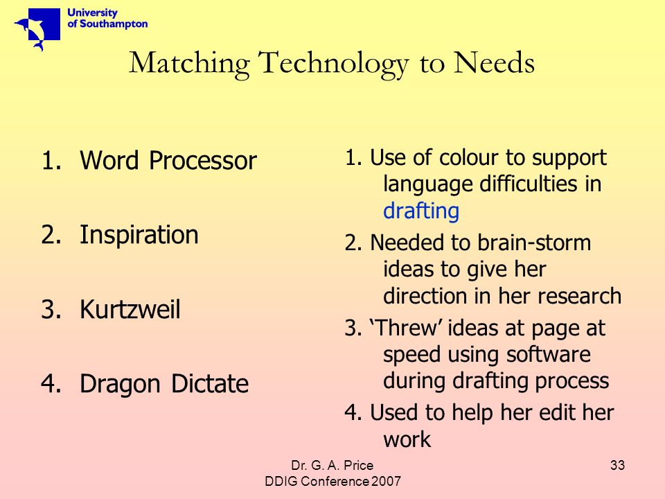 Dr. G. A. Price DDIG Conference 2007 33 Matching Technology to Needs 1.Word Processor 2.Inspiration 3.Kurtzweil 4.Dragon Dictate 1. Use of colour to s