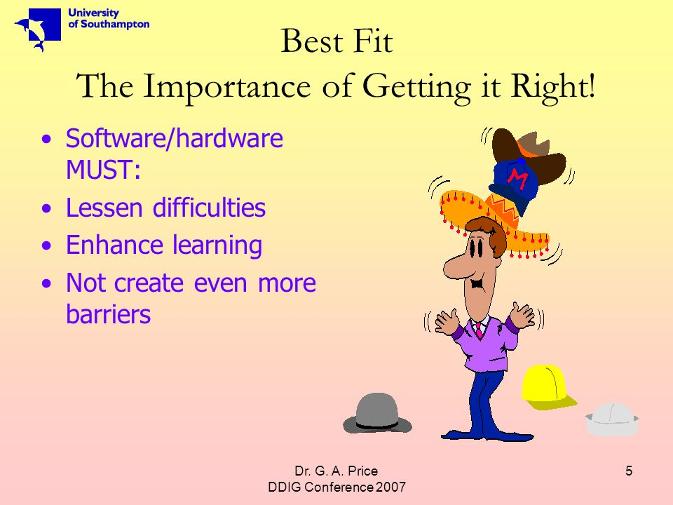 Dr. G. A. Price DDIG Conference 2007 5 Best Fit The Importance of Getting it Right.