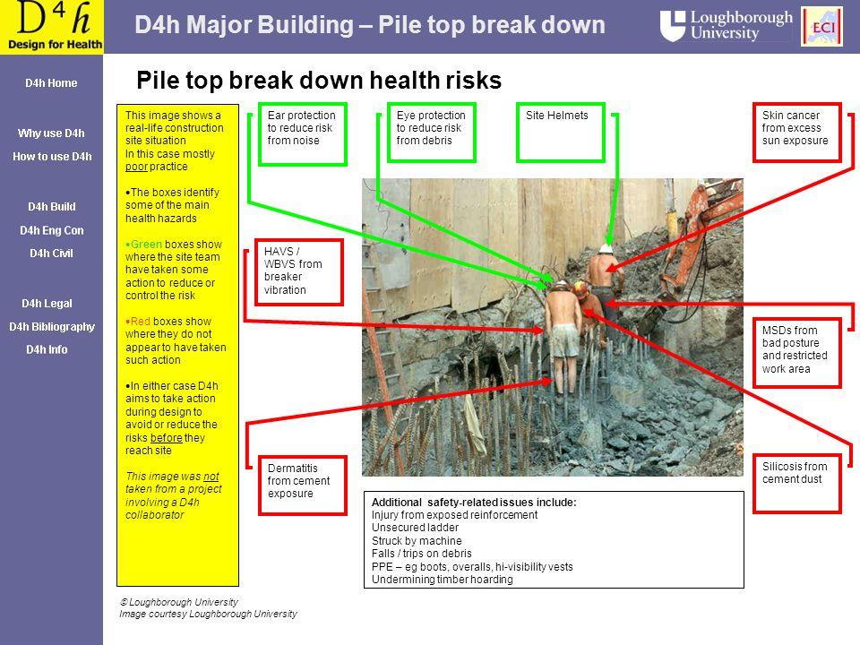 D4h Major Building – Pile top break down Pile top break down health risks Skin cancer from excess sun exposure Dermatitis from cement exposure Site He