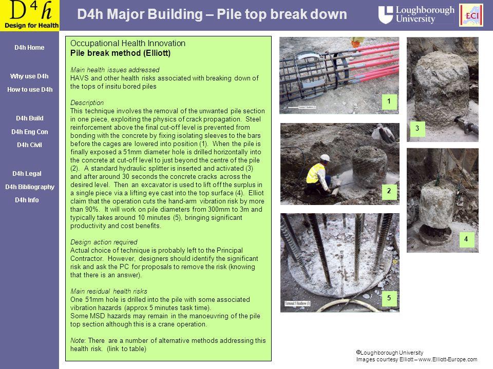 D4h Major Building – Pile top break down Loughborough University Images courtesy Elliott – www.Elliott-Europe.com Occupational Health Innovation Pile