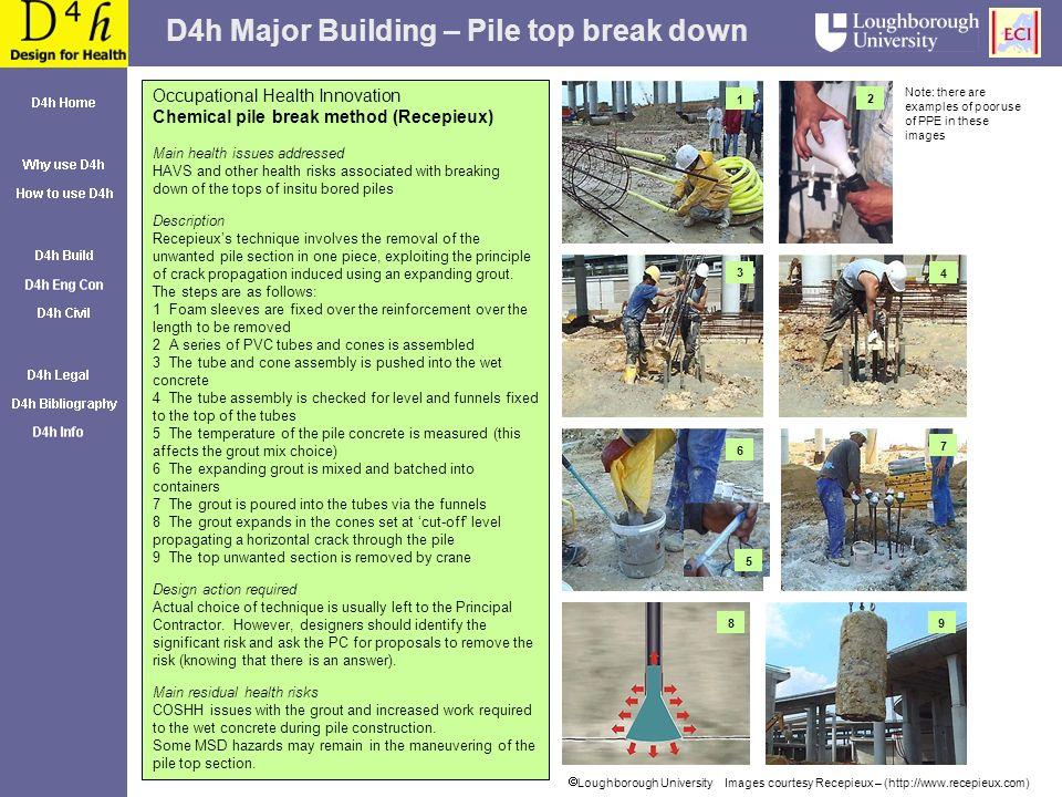 D4h Major Building – Pile top break down Loughborough University Images courtesy Recepieux – (http://www.recepieux.com) Occupational Health Innovation