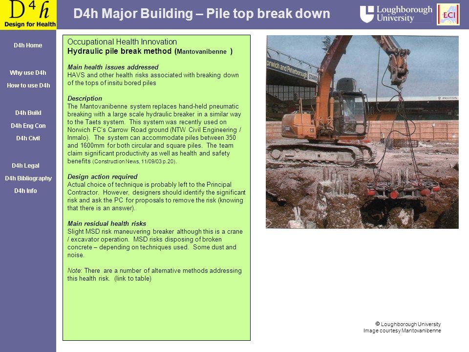 D4h Major Building – Pile top break down Loughborough University Image courtesy Mantovanibenne Occupational Health Innovation Hydraulic pile break met