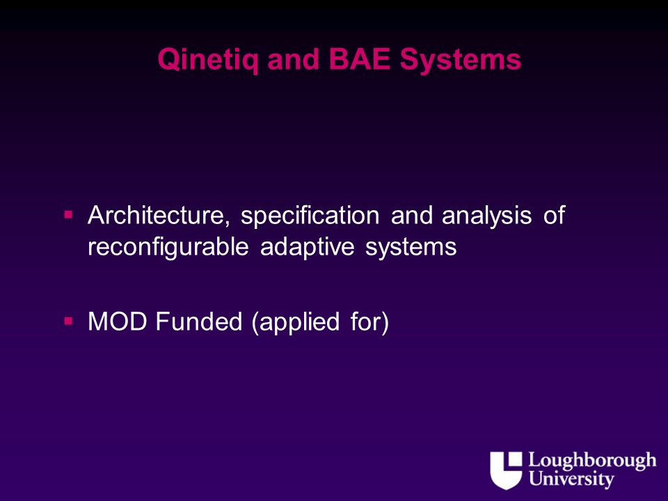 Qinetiq and BAE Systems Architecture, specification and analysis of reconfigurable adaptive systems MOD Funded (applied for)