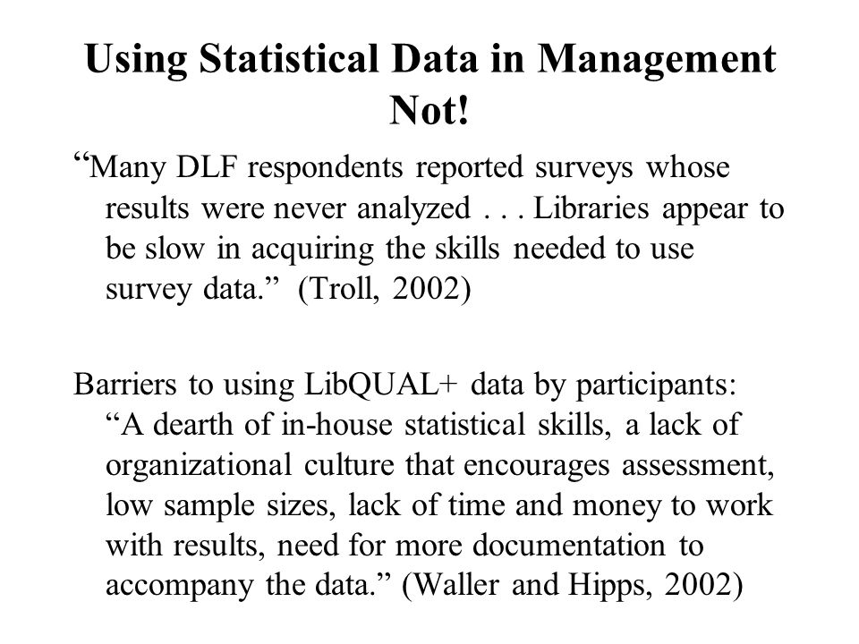 Using Statistical Data in Management Not.