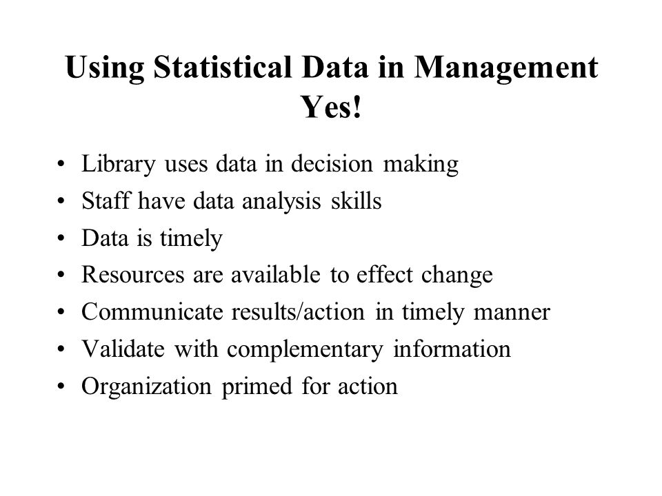 Using Statistical Data in Management Yes.