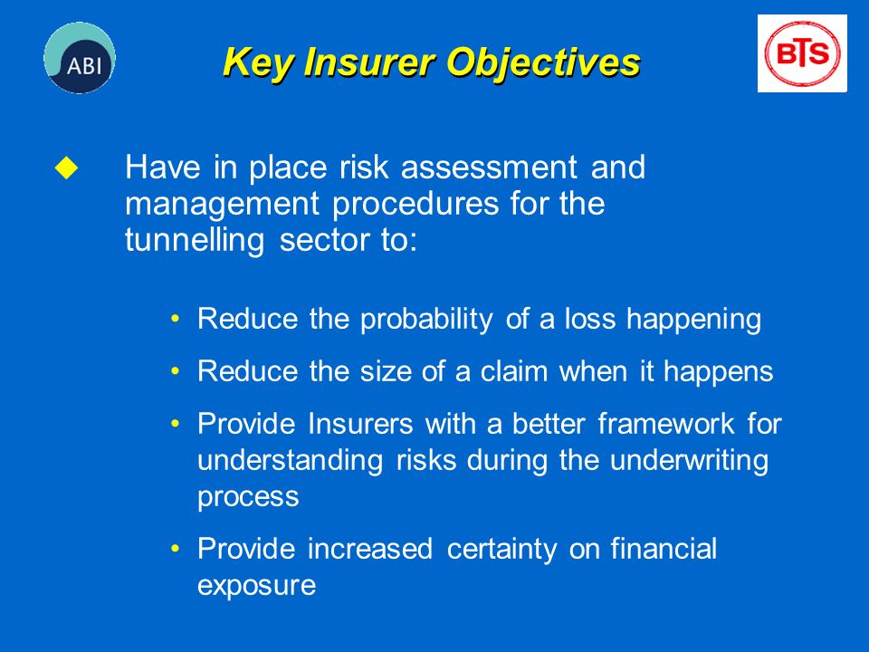 Key Insurer Objectives u Have in place risk assessment and management procedures for the tunnelling sector to: Reduce the probability of a loss happen