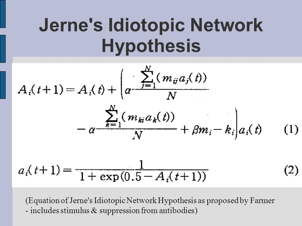 Jerne's Idiotopic Network Hypothesis (Equation of Jerne's Idiotopic Network Hypothesis as proposed by Farmer - includes stimulus & suppression from an