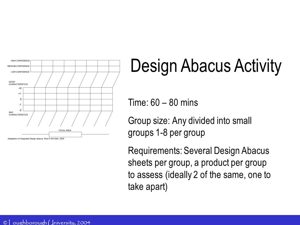 © Loughborough University, 2004 Design Abacus Activity Time: 60 – 80 mins Group size: Any divided into small groups 1-8 per group Requirements: Several Design Abacus sheets per group, a product per group to assess (ideally 2 of the same, one to take apart)