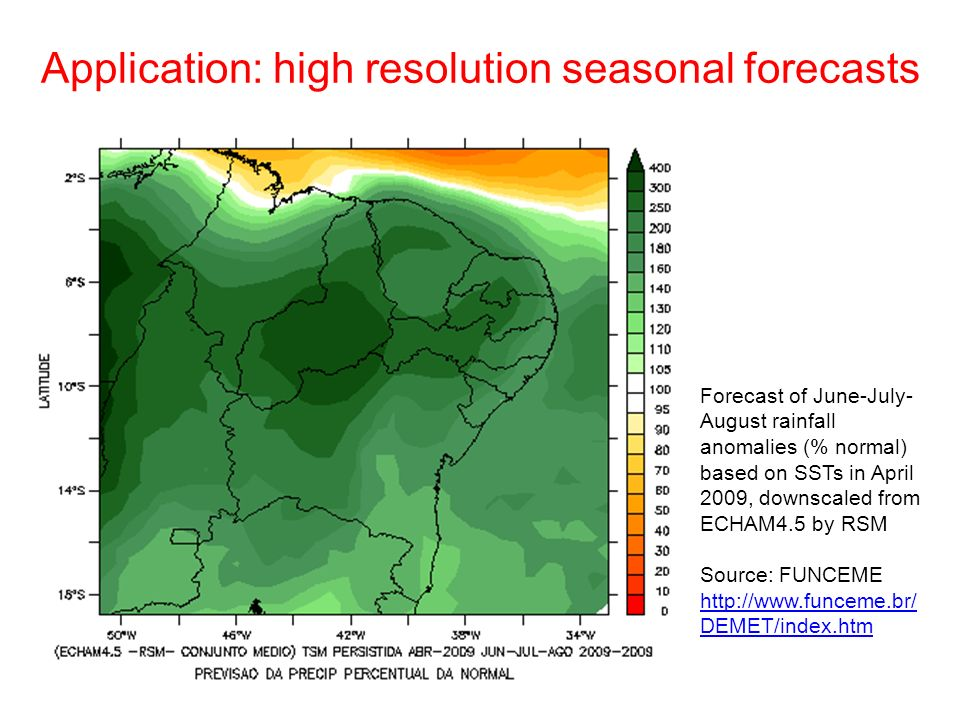 Forecast of June-July- August rainfall anomalies (% normal) based on SSTs in April 2009, downscaled from ECHAM4.5 by RSM Source: FUNCEME http://www.funceme.br/ DEMET/index.htm Application: high resolution seasonal forecasts