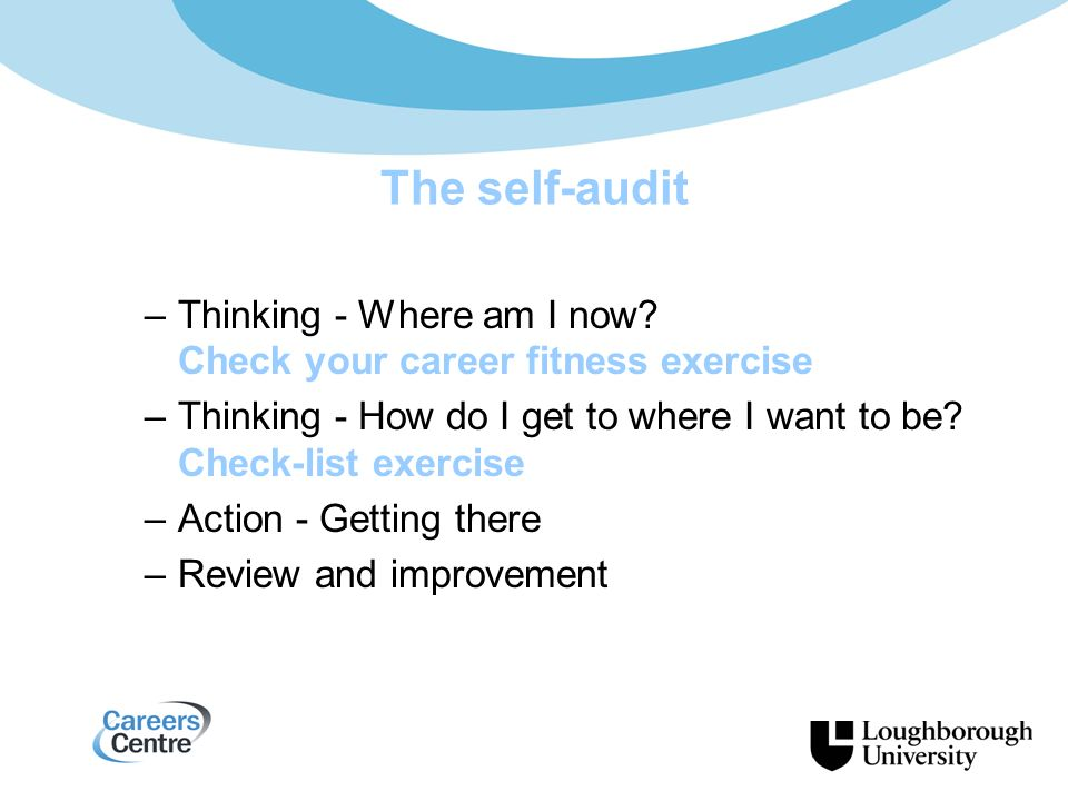 The self-audit –Thinking - Where am I now.