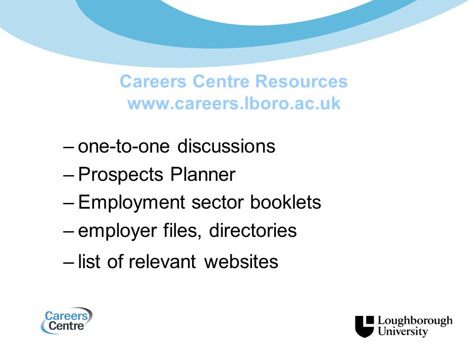 Careers Centre Resources www.careers.lboro.ac.uk –one-to-one discussions –Prospects Planner –Employment sector booklets –employer files, directories –list of relevant websites