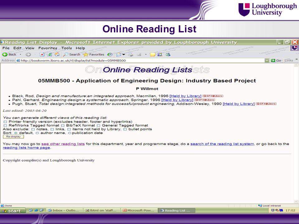 Online Reading List
