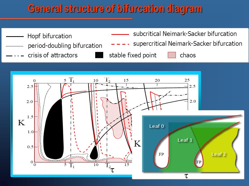 General structure of bifurcation diagram General structure of bifurcation diagram Hopf bifurcation period-doubling bifurcation crisis of attractors subcritical Neimark-Sacker bifurcation supercritical Neimark-Sacker bifurcation stable fixed pointchaos