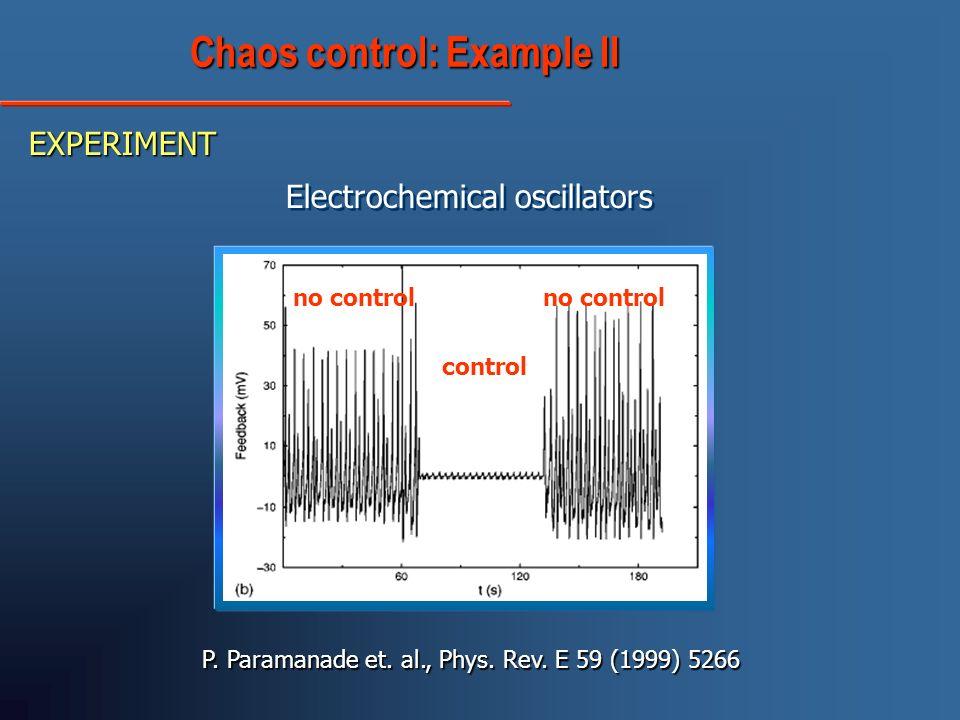 Electrochemical oscillators P. Paramanade et. al., Phys. Rev. E 59 (1999) 5266 control no control Chaos control: Example II Chaos control: Example II