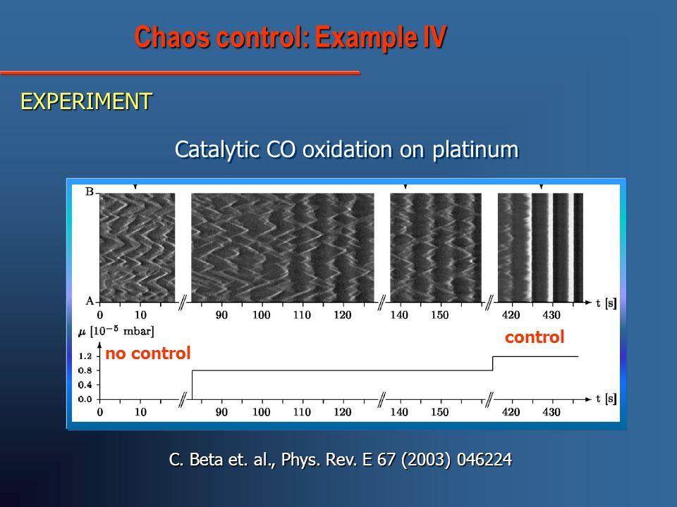 Chaos control: Example IV Chaos control: Example IV EXPERIMENT C. Beta et. al., Phys. Rev. E 67 (2003) 046224 Catalytic CO oxidation on platinum contr