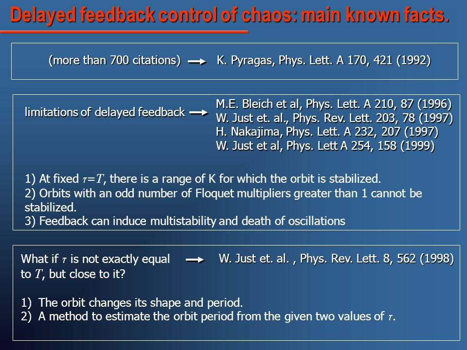 Delayed feedback control of chaos: main known facts.