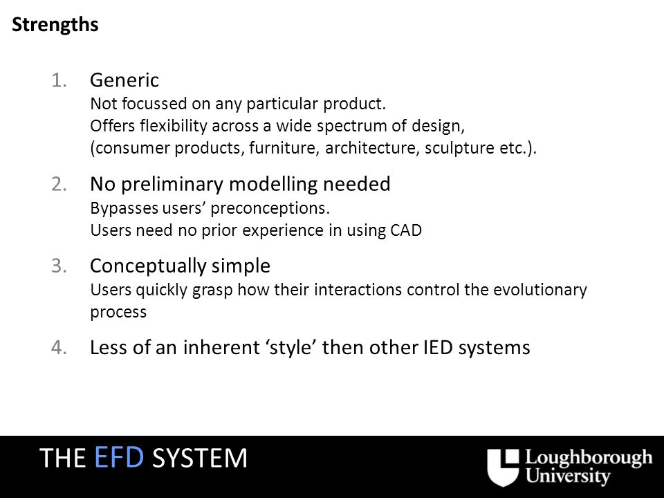 Strengths 2.No preliminary modelling needed Bypasses users preconceptions. Users need no prior experience in using CAD 1.Generic Not focussed on any p