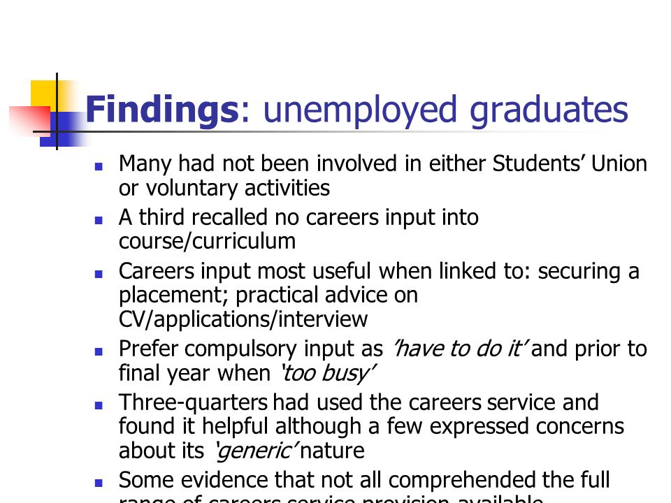Findings: unemployed graduates Many had not been involved in either Students Union or voluntary activities A third recalled no careers input into course/curriculum Careers input most useful when linked to: securing a placement; practical advice on CV/applications/interview Prefer compulsory input as have to do it and prior to final year when too busy Three-quarters had used the careers service and found it helpful although a few expressed concerns about its generic nature Some evidence that not all comprehended the full range of careers service provision available