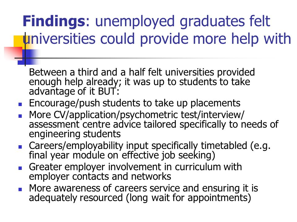 Findings: unemployed graduates felt universities could provide more help with Between a third and a half felt universities provided enough help already; it was up to students to take advantage of it BUT: Encourage/push students to take up placements More CV/application/psychometric test/interview/ assessment centre advice tailored specifically to needs of engineering students Careers/employability input specifically timetabled (e.g.
