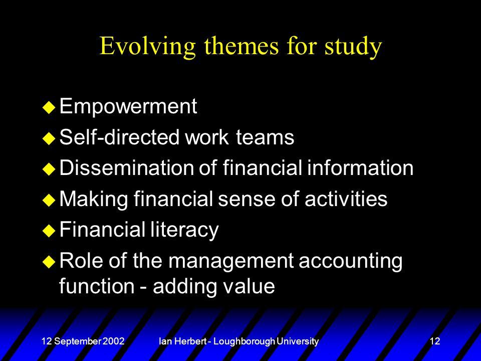 12 September 2002Ian Herbert - Loughborough University12 Evolving themes for study u Empowerment u Self-directed work teams u Dissemination of financi