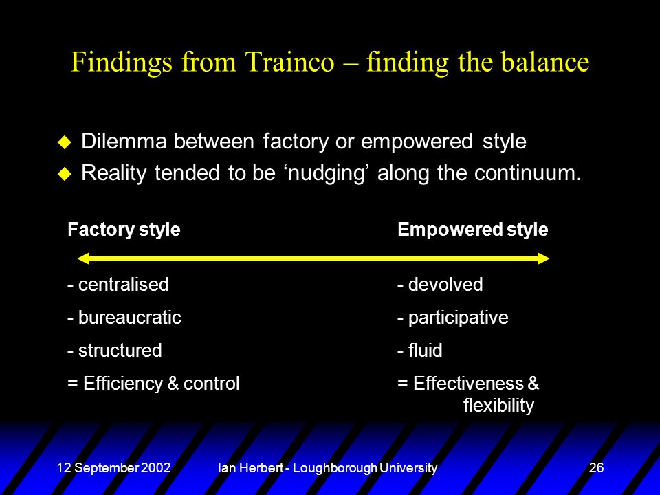 12 September 2002Ian Herbert - Loughborough University26 Findings from Trainco – finding the balance u Dilemma between factory or empowered style u Re