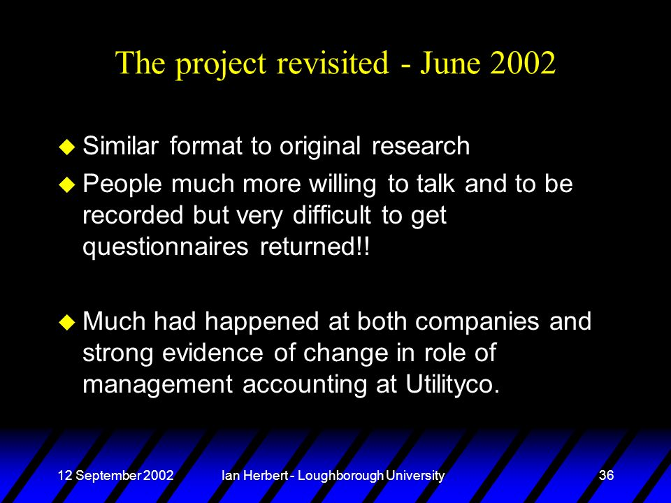 12 September 2002Ian Herbert - Loughborough University36 The project revisited - June 2002 u Similar format to original research u People much more willing to talk and to be recorded but very difficult to get questionnaires returned!.