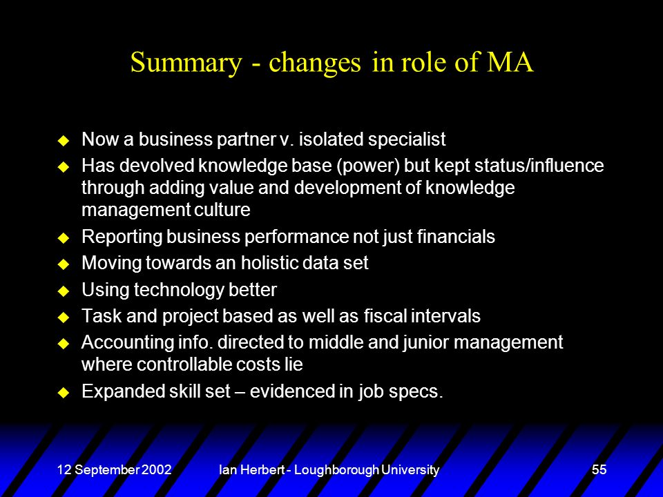 12 September 2002Ian Herbert - Loughborough University55 Summary - changes in role of MA u Now a business partner v.
