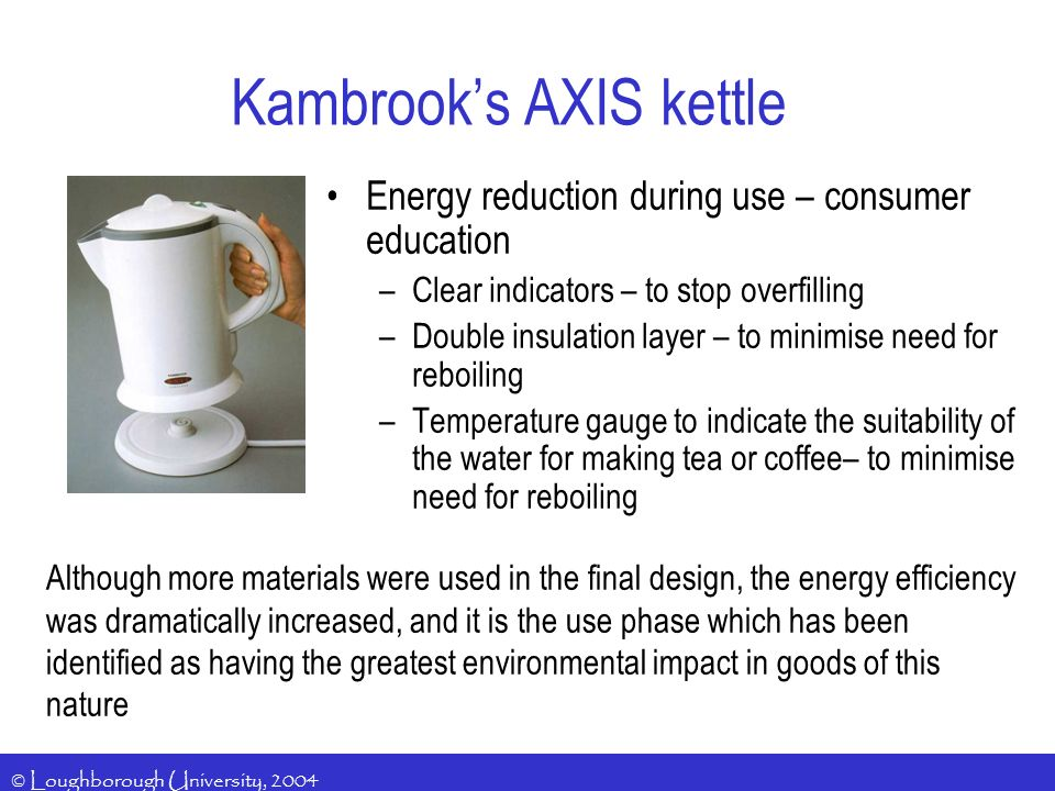 © Loughborough University, 2004 Kambrooks AXIS kettle Energy reduction during use – consumer education –Clear indicators – to stop overfilling –Double