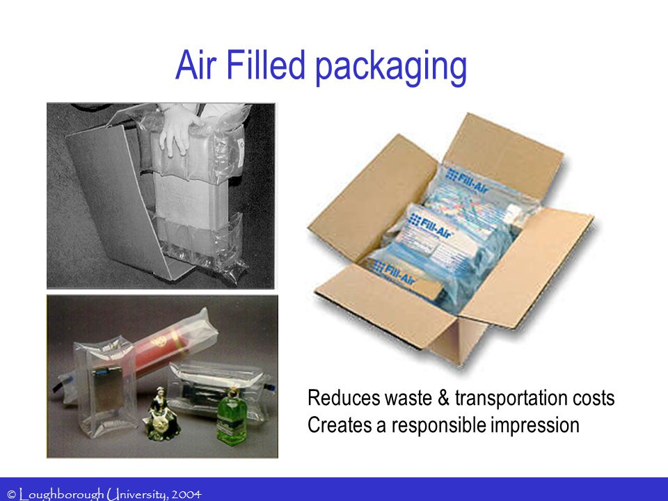 © Loughborough University, 2004 Air Filled packaging Reduces waste & transportation costs Creates a responsible impression