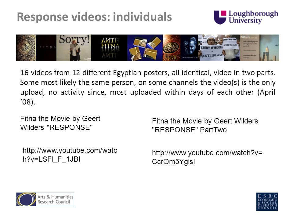 Response videos: individuals 16 videos from 12 different Egyptian posters, all identical, video in two parts.