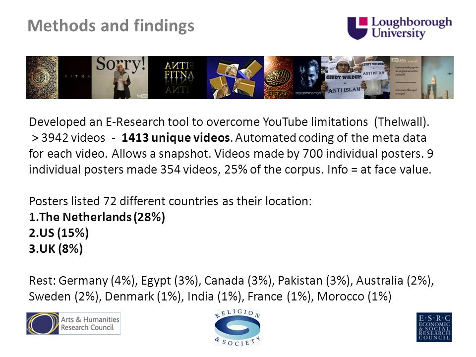 Methods and findings Developed an E-Research tool to overcome YouTube limitations (Thelwall).