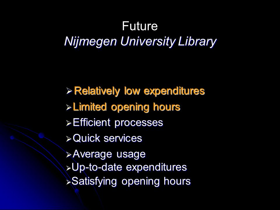 Nijmegen University Library Future Nijmegen University Library Relatively low expenditures Relatively low expenditures Limited opening hours Limited opening hours Efficient processes Efficient processes Quick services Quick services Average usage Average usage Up-to-date expenditures Up-to-date expenditures Satisfying opening hours Satisfying opening hours