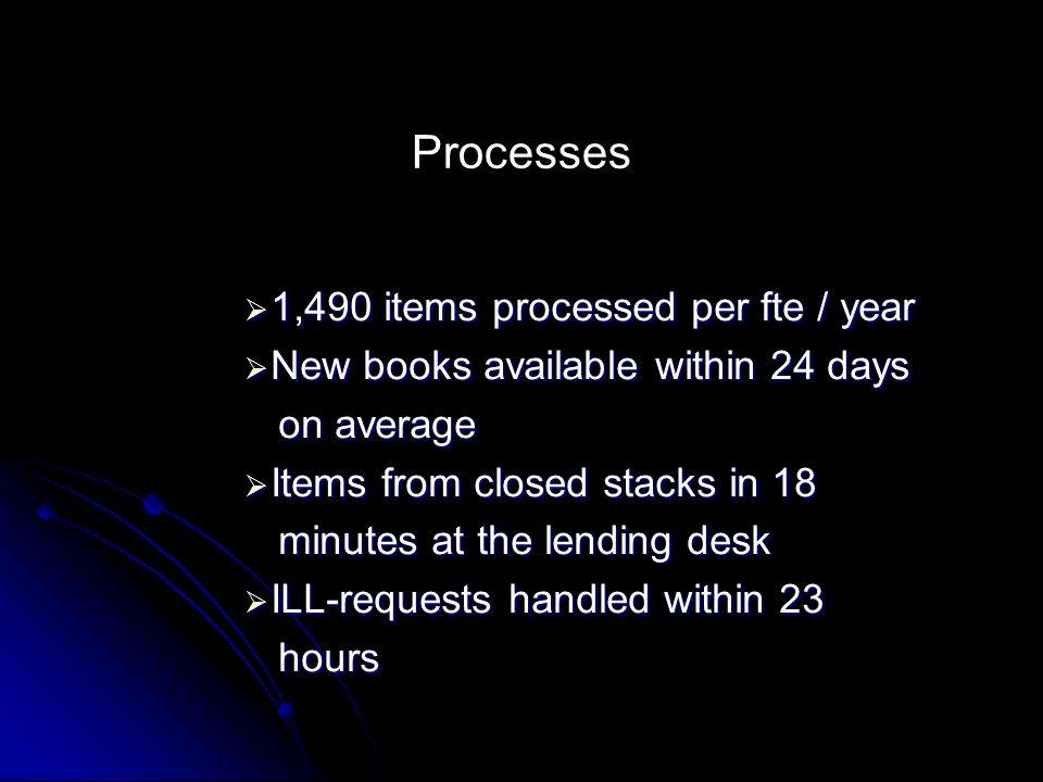 Processes 1,490 items processed per fte / year 1,490 items processed per fte / year New books available within 24 days New books available within 24 days on average on average Items from closed stacks in 18 Items from closed stacks in 18 minutes at the lending desk minutes at the lending desk ILL-requests handled within 23 ILL-requests handled within 23 hours hours