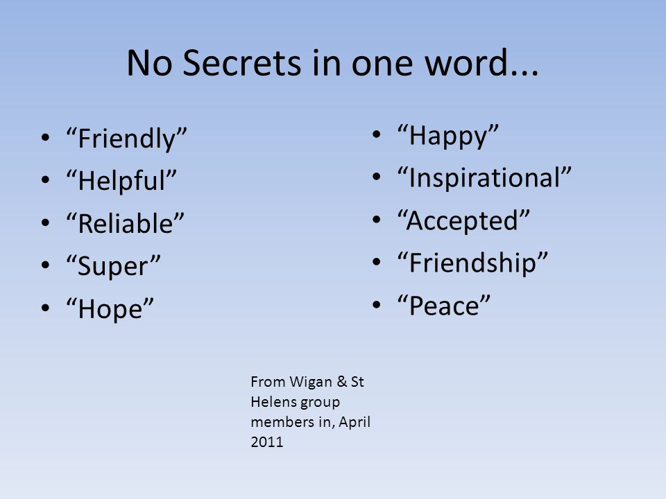 No Secrets in one word...