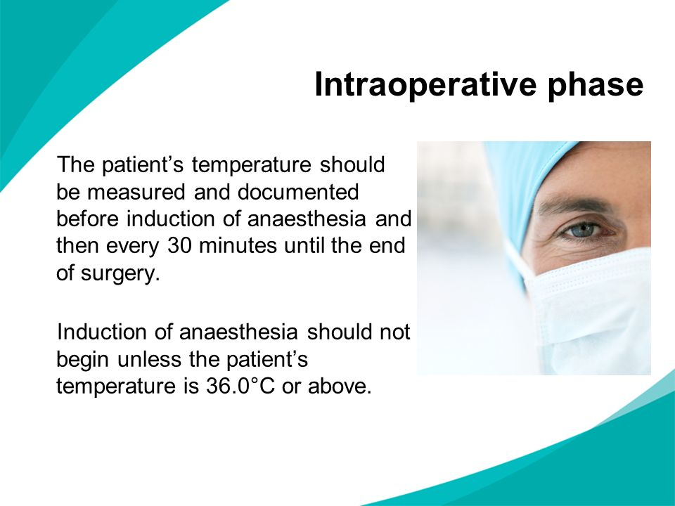 The patients temperature should be measured and documented before induction of anaesthesia and then every 30 minutes until the end of surgery.