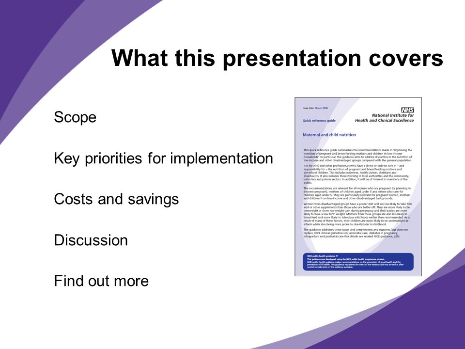 What this presentation covers Scope Key priorities for implementation Costs and savings Discussion Find out more