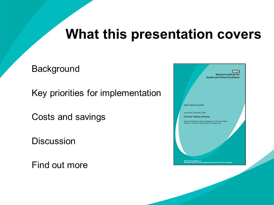 What this presentation covers Background Key priorities for implementation Costs and savings Discussion Find out more