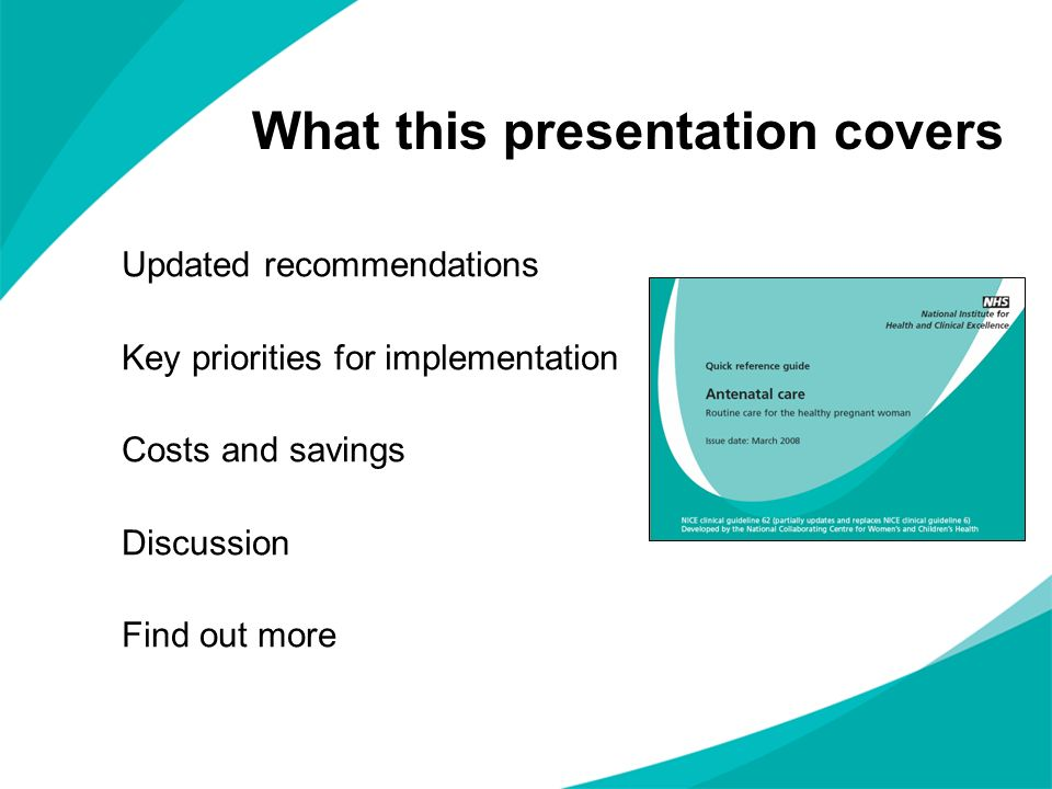 What this presentation covers Updated recommendations Key priorities for implementation Costs and savings Discussion Find out more