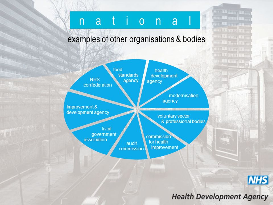 n a t i o n a l examples of other organisations & bodies food standards agency health development agency modernisation agency voluntary sector & professional bodies commission for health improvement audit commission local government association Improvement & development agency NHS confederation