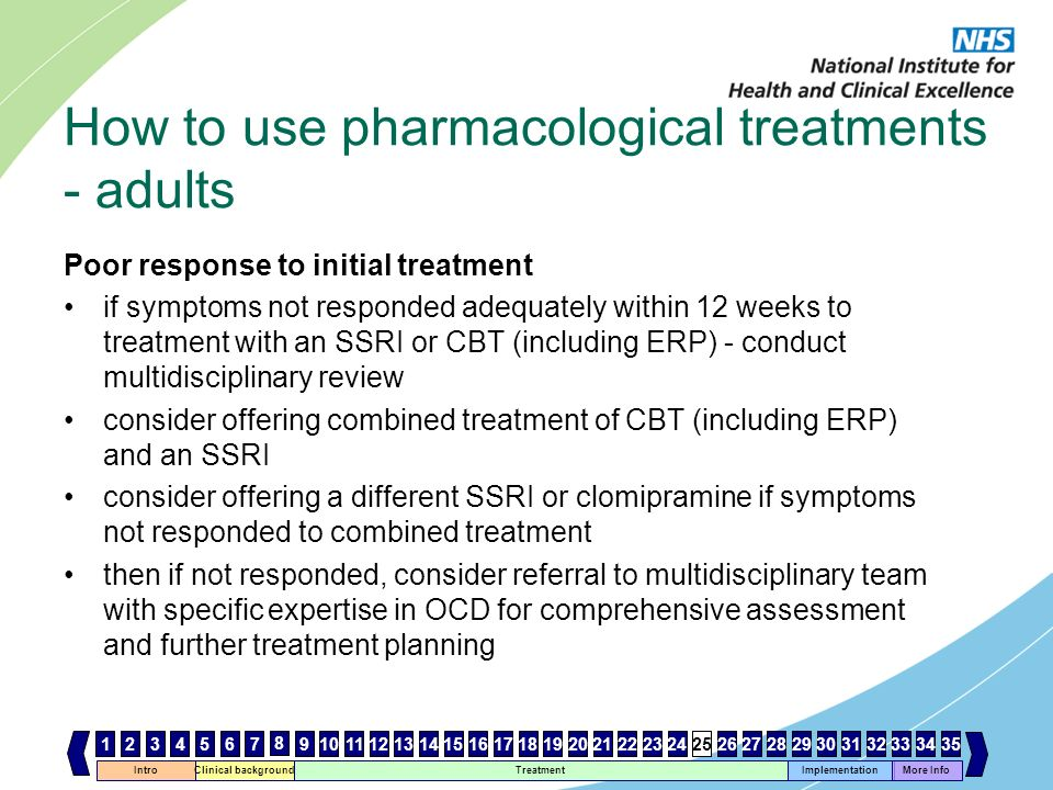 Intro Clinical background Treatment Implementation 467 8 1112131415161718192021222324252627282930 More Info 33343531259103231 How to use pharmacologic