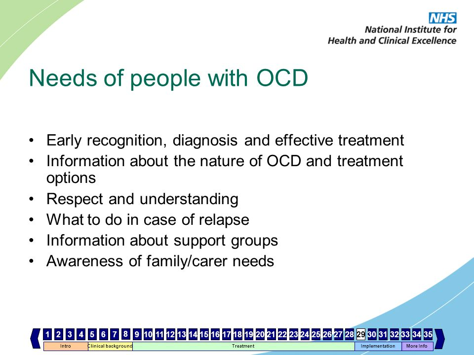 Intro Clinical background Treatment Implementation 467 8 1112131415161718192021222324252627282930 More Info 33343531259103231 Needs of people with OCD