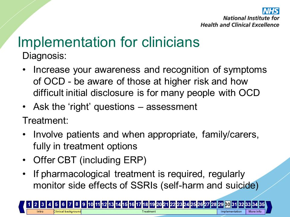 Intro Clinical background Treatment Implementation 467 8 1112131415161718192021222324252627282930 More Info 33343531259103231 Implementation for clini