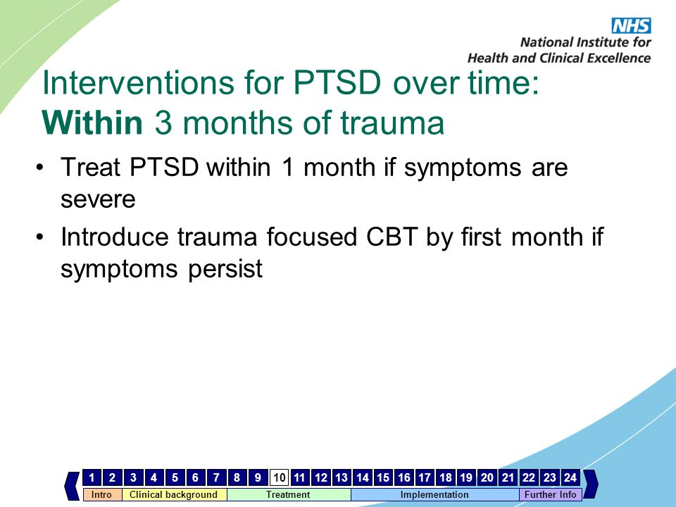 IntroClinical background Treatment Implementation 123456789101112131415161718192021222324 Further Info Interventions for PTSD over time: Within 3 mont