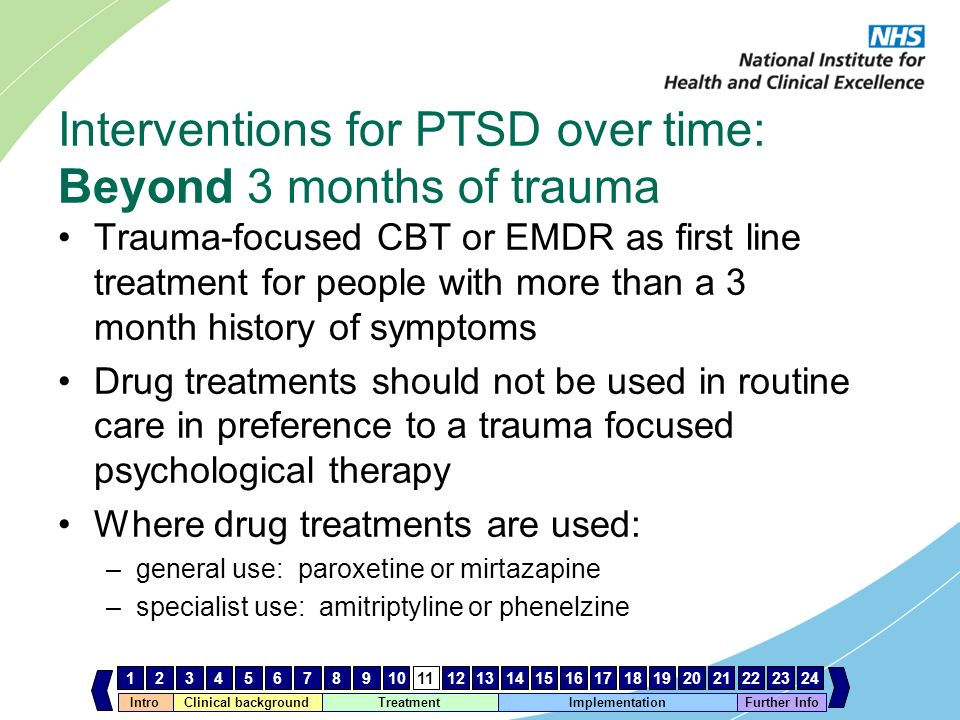 IntroClinical background Treatment Implementation 123456789101112131415161718192021222324 Further Info Interventions for PTSD over time: Beyond 3 mont